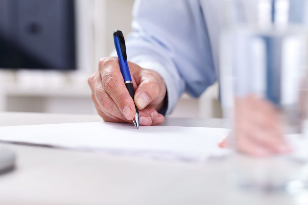 Filling in paperwork